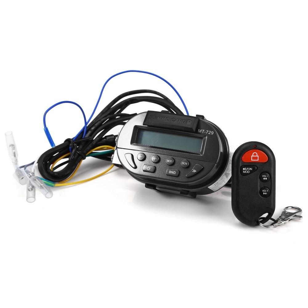 MT729 Moto Moto 12 V MP3 Lecteur de Musique FM Radio Support Carte SD avec Télécommande Audio Entrée Anti-vol Alarme