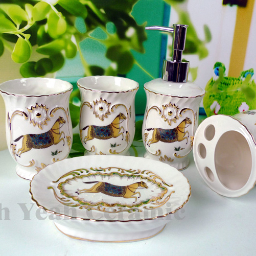 Porcelain Bathroom Sets Magnesia Horse Design 5 Pieces Accessories Housewarming Gifts In