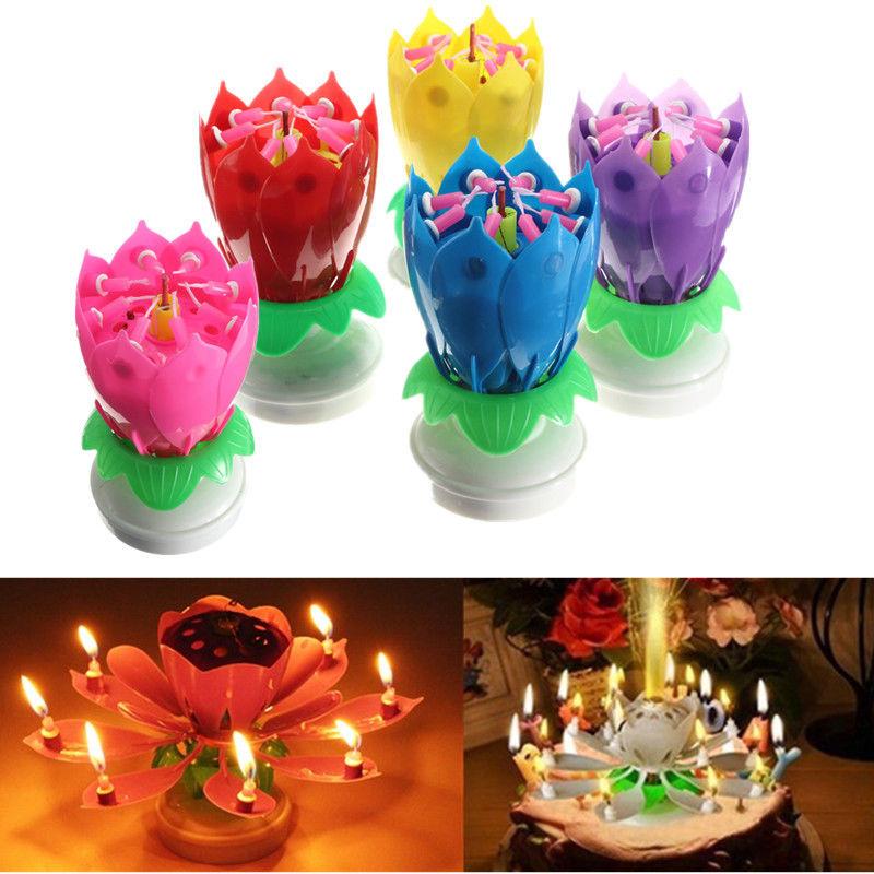 unid hermosa flor de lotus flower fiesta de cumpleaos vela music sparkle torta cake topper