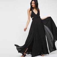 Lille Maxi Dress V Neck Sleeveless Solid Strappy Split Vestidos Tie Backless Long Dress Summer Beach