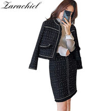 4a27f51e792 Runway Designer 2019 Winter Frauen Tweed Strickjacke Kurze Jacke Mantel +  Bodycon Mini Kleid Damen Fransen Quasten Tweed 2- stüc.