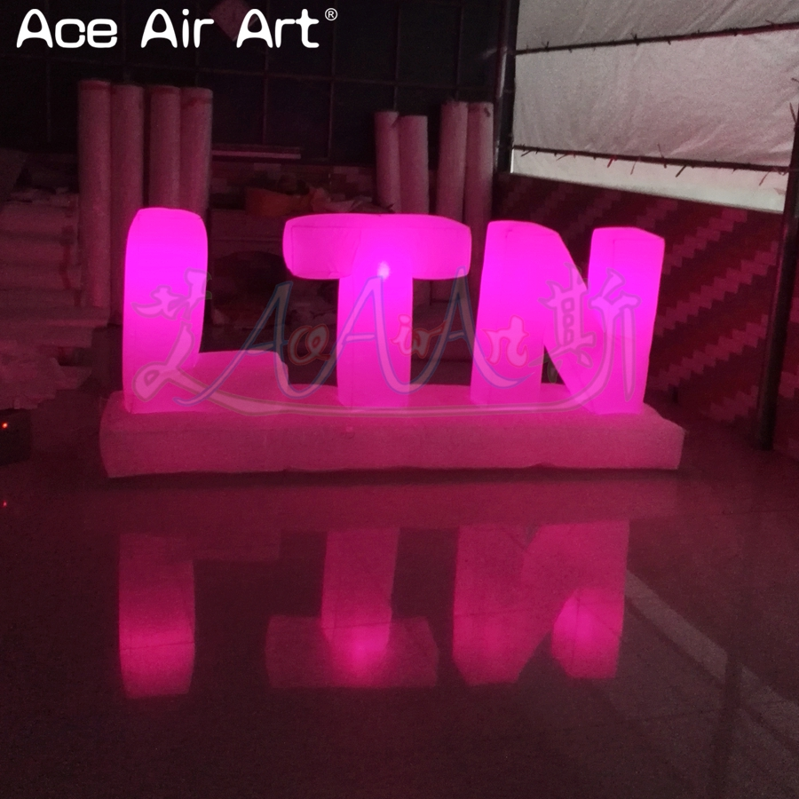Customized led lighting inflatable letters of alphabet advertising billboard colorful letters set balloon for sale - 2