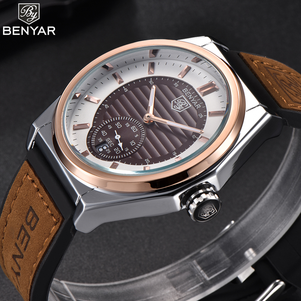 New BENYAR men watches 2018 luxury brand quartz watch men casual Japan quartz watch leather band strap wristwatch clock male man цена и фото