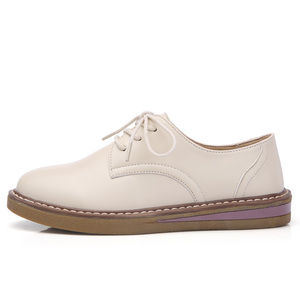 Image 3 - STQ 2020 Autumn Women Oxfords Shoes Flats Shoes Women PU Leather Lace Up Flat Heel Rubber Boat Shoes Round Toe Moccasins QSG932
