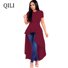 QILI Short Sleeve Asymmetrical Dress Women O neck Ruffles Elegant Dresses Front Short Rear Long Casual Dress Black Blue Red