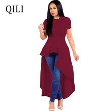 QILI Short Sleeve Asymmetrical Dress Women O neck Ruffles Elegant Dresses Front Rear Long Casual Black Blue Red