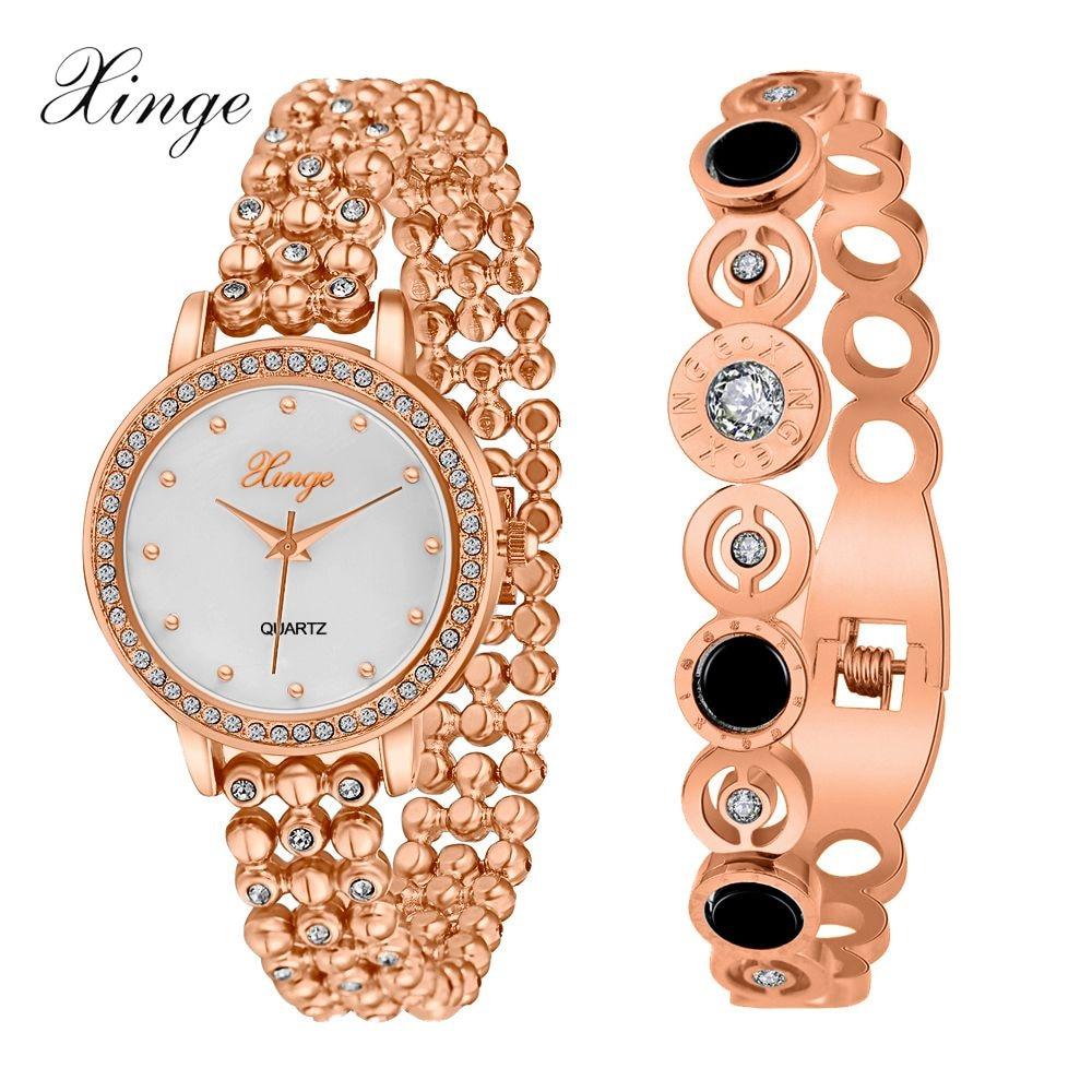 Xinge Brand Women Watches Luxury Heart Bracelet Gold Silver Waterproof Crystal Wristwatch Women Dress Watches 2016 Luxury Watch cute love heart hollow out bracelet watch for women