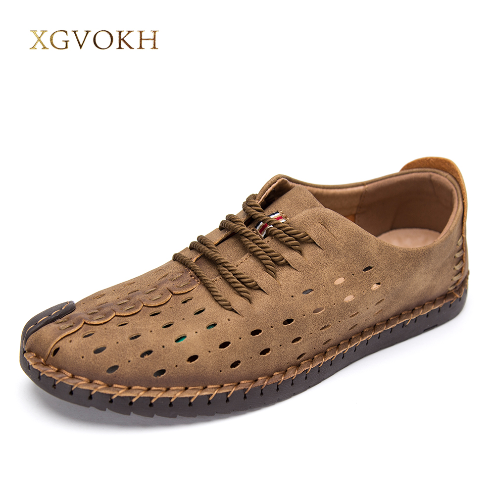 XGVOKH Men shoes Casual Russian hollow Leather Summer Sandals Man Beach lace up basic breathable Flats Solid British style newest design men summer sandals style flats fashion casual breathable genuine leather punching shoes for men simple shoes male