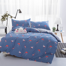 Fashion Flamingo Print Bedding Set Cartoon Kids Girls 100% Cotton Duvet Cover Bed Sheet Pillowcase Twin Queen King Bed Linen(China)