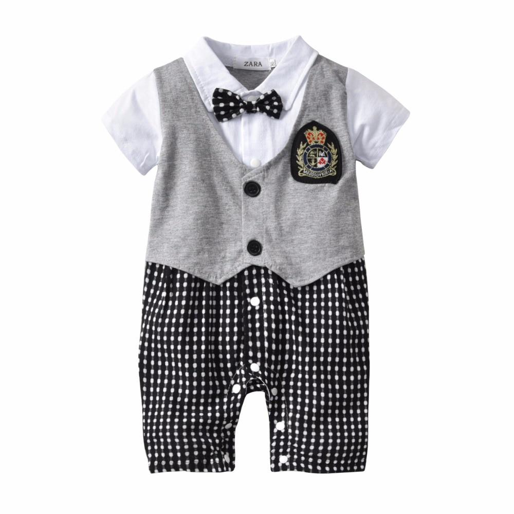 2018 Onesie Baby Black White Plaid Gentleman Romper Turn-down Collar Jumpsuit With Bow Tie Short Sleeve Baby Boy Summer Romper