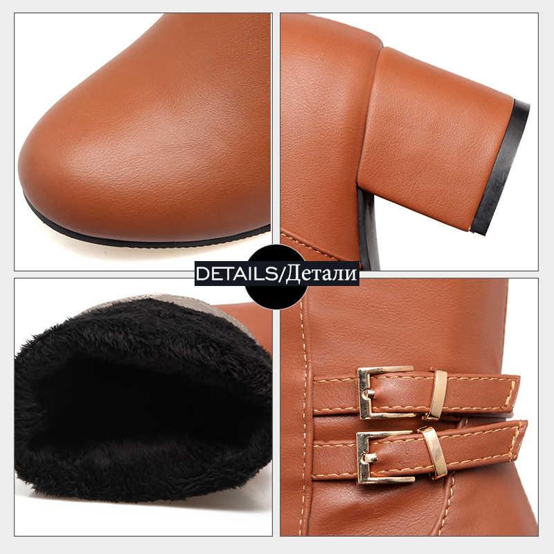WETKISS 2018 Artı Boyutu 34-43 Şövalye Diz Yüksek Çizmeler Kadın Peluş Sıcak Kış Çizmeler Toka Kayış Kalın Topuklu ayakkabı Kadın Ayakkabı
