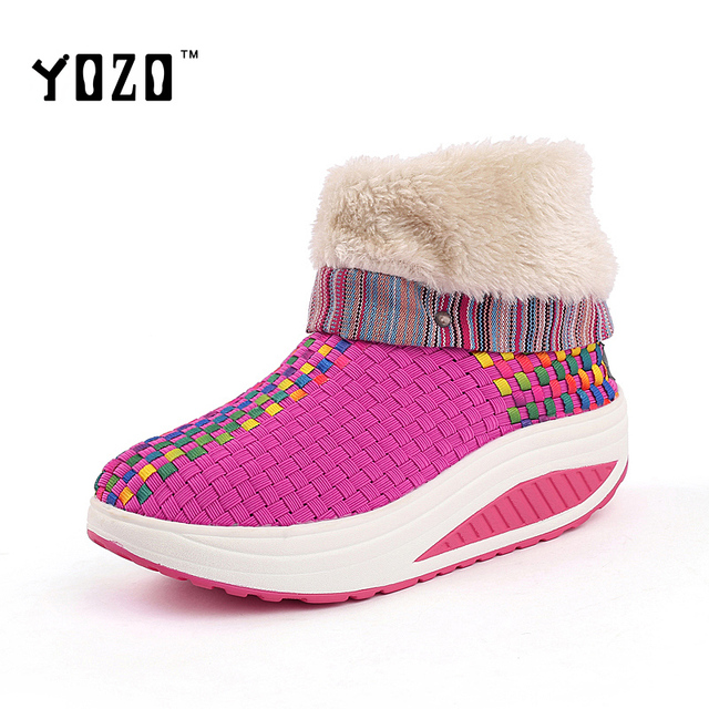 Women Shoes Fashion Platform High Top Warm Fur Shake Shoes Women Casual Winter Shoes Brand Weave Shoes Women Chaussures Femme