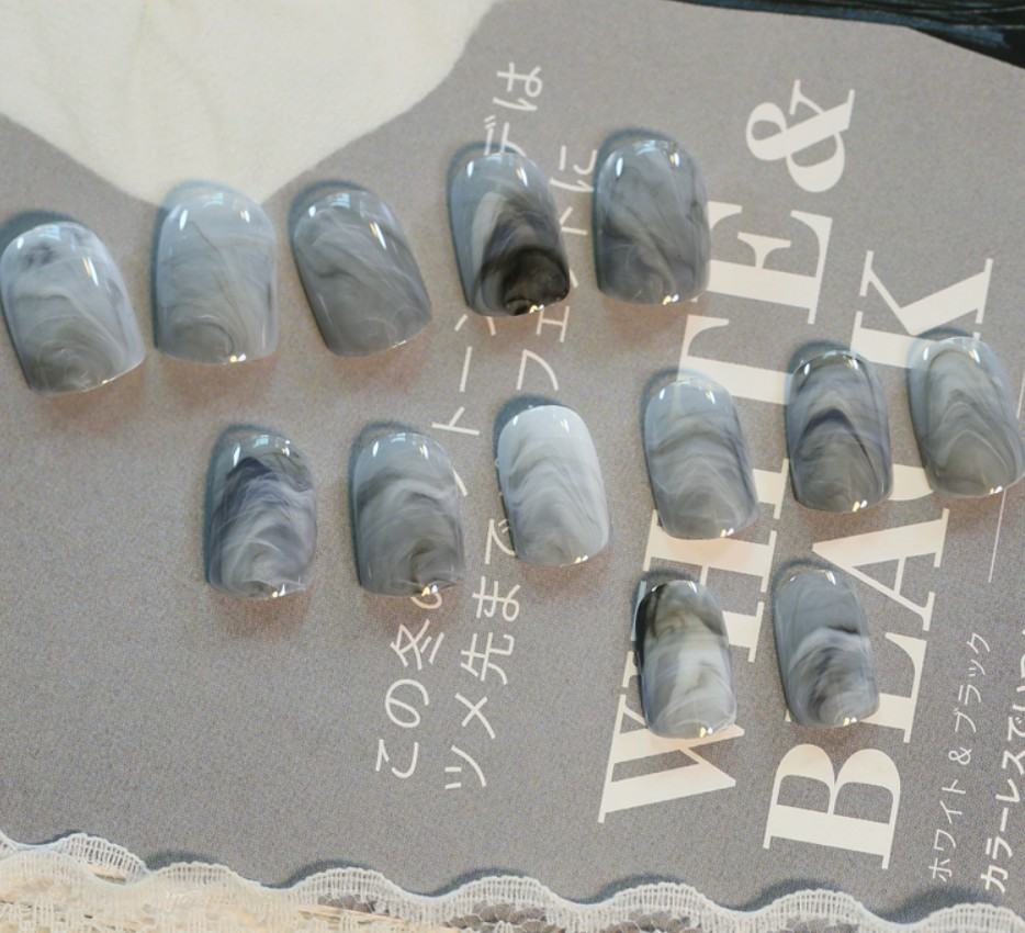 Fake Nails Acrylic Faux Ongles Grey with marble color Decoration for ...