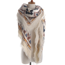 Fringed za shawl blanket cashmere scarves geometric square scarf woman print