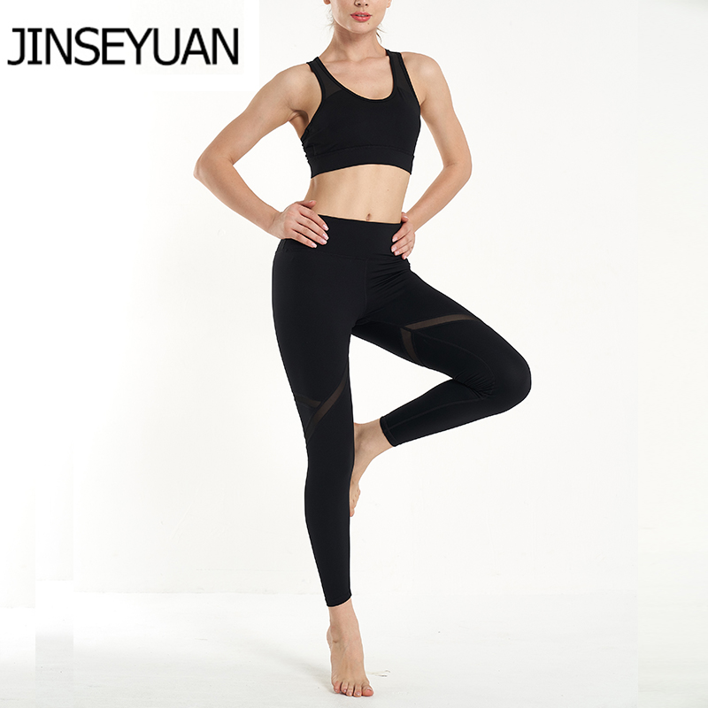 2019 Style Women Seamless Sexy Mesh 2 Piece Set Women Sport Suit Gym Workout Running Clothes Sports Bra Leggings in Yoga Sets from Sports Entertainment