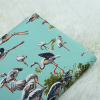 1 Meter Thick Pure Cotton Twill Fabric With Cartoon Flamingo Print Handmade DIY Bag Cloth 857
