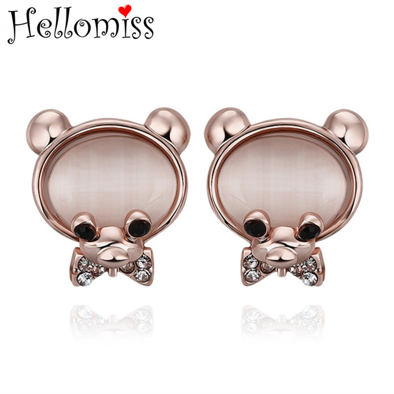 Rose Gold Color Stud Earrings for Women Cute Style Animal Earring with Opal Fashion Brand Jewelry Piercing Ear Cuff Brincos