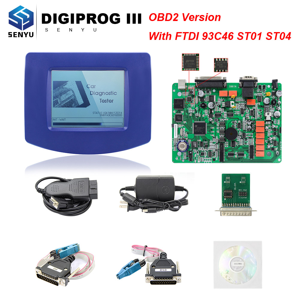 Digiprog III V4.94 OBD2 Version ST01 ST04 DIGIPROG3 Odometer correction Programmer FTDI 93C46 Chip DIGIPROG 3 V4.94 Programmer-in Car Diagnostic Cables & Connectors from Automobiles & Motorcycles