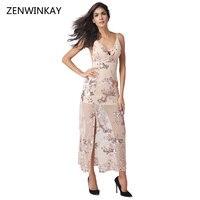 2017 Ăn Mặc cho Phụ Nữ Chia Váy Nữ Sequin Xem Qua Backless Dài Dresses Womens Sâu V Dây Đeo Vestido Glitter Dress