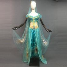 New Aladdin Jasmine Princess Cosplay Costume Sexy Belly Dance Dress Halloween Outfit Peacock Embroidery Top Skirt Pant Crown Set