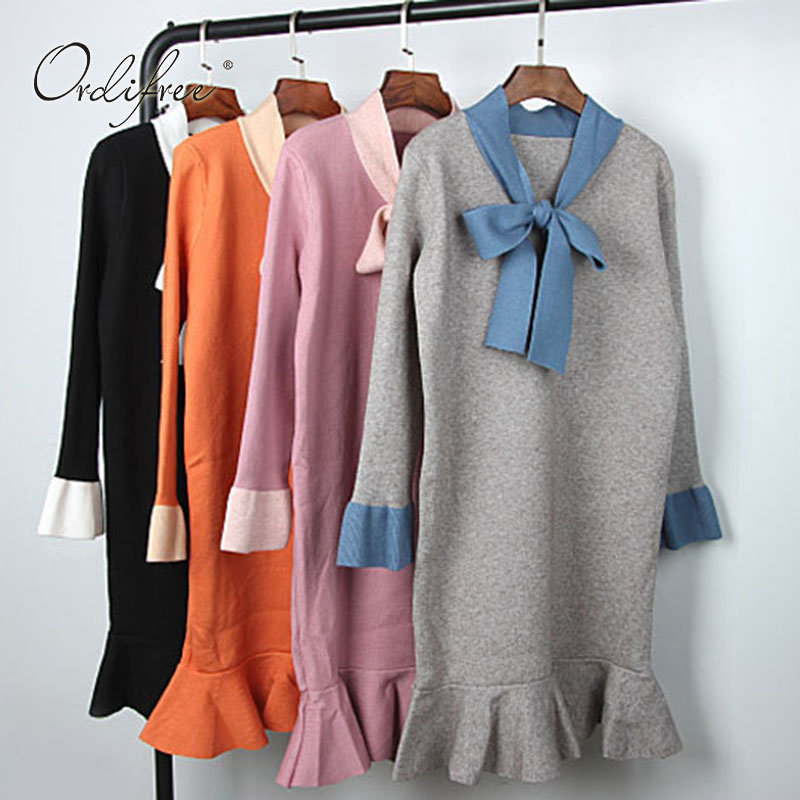 Ordifree Knitted Mermaid Dress Long Warm Sweater Pullover Women Bow Long Sleeve 2017 Autumn Winter Cute Pink Sweater Dress