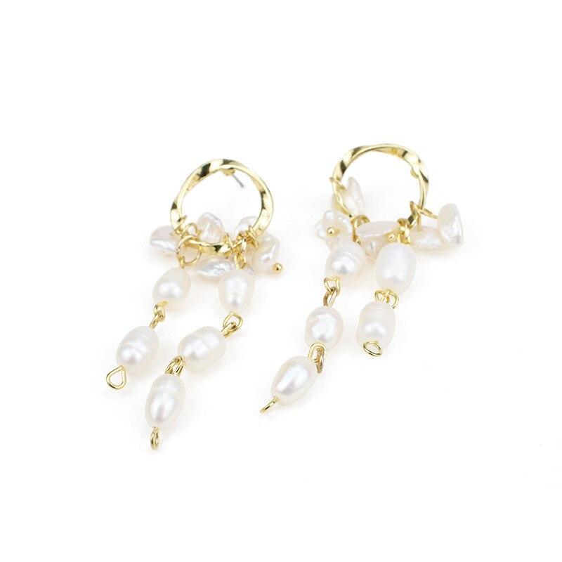 GWACC Freshwater Pearls Tassel Earrings Drop Earrings For Women Baroque Palace Style Exaggerated Long Earrings Elegant Jewelry in Drop Earrings from Jewelry Accessories