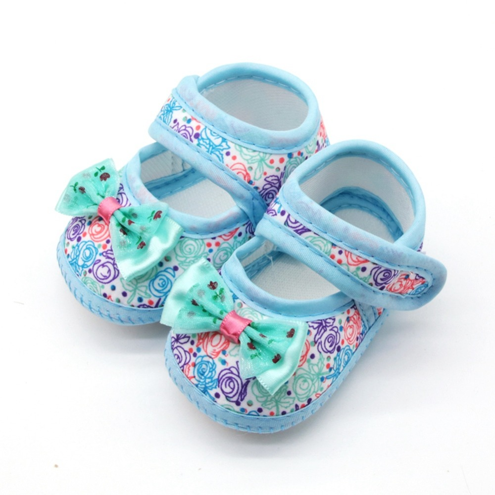 Baby Girl Breathable Anti-Slip Floral Bow Shoes Casual Sneakers Toddler Soft Soled First Walkers 0-18M