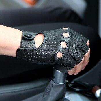 Männer Echte Lederne Handschuhe Männlichen Dünnen Ungefüttert Atmungsaktiv Rutschfeste Halbfinger Lammfell Handschuhe Fahren Männer Fäustlinge M046P4
