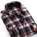Camisa a cuadros 2016 Nueva Otoño Invierno de Franela Camisa A Cuadros de color Rojo Los Hombres Chemise Homme Camisas de Manga Larga de Algodón Masculina Camisas de Cuadros