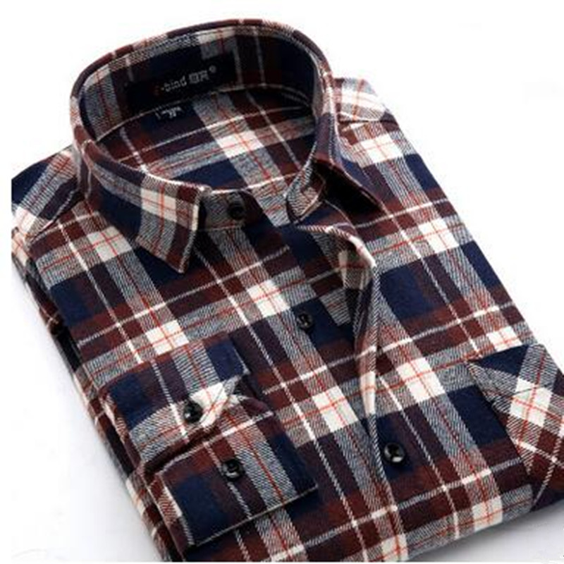 Plaid Shirt 2016 New Autumn Winter Flannel Red Checkered Shirt Men Shirts Long Sleeve Chemise Homme