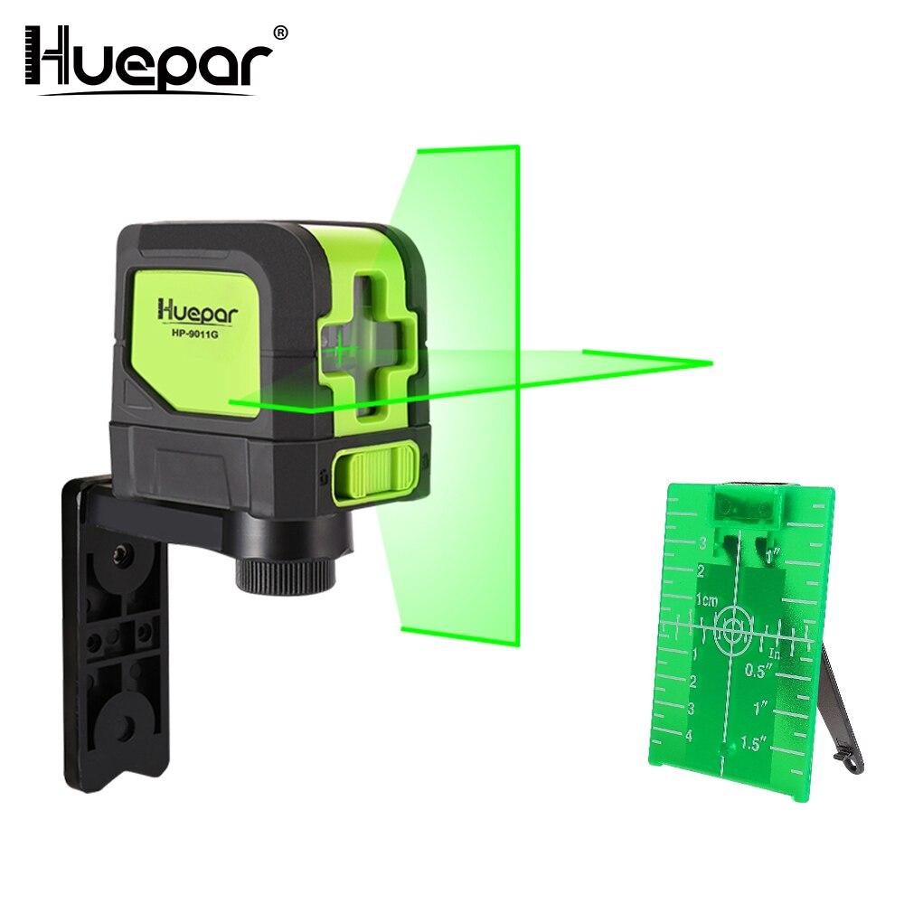 Huepar зеленый лазерный уровень DIY-Cross Line лазерный самонивелирующий 9011 г яркий зеленый луч лазер Горизонтальные и вертикальные линии лазер