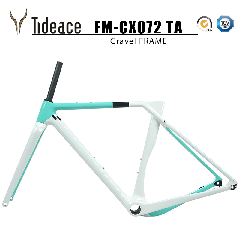 цена на 2018 Tideace Full Carbon gravel frame Thru axle Di2 Gravel Bicycle Frame Cyclocross Disc Bike Frame 142*12 or 135*9 XS/S/M/L/XL