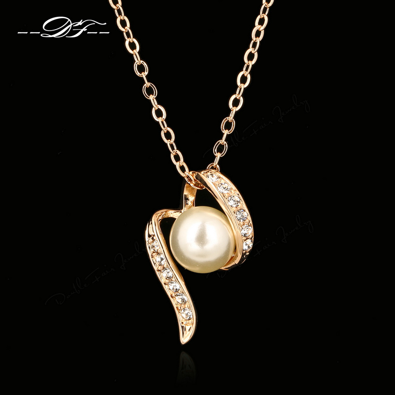 Cubic Zirconia Simulated Pearl Beads Rose Gold Pated Necklaces & pendants Fashion Jewelry For Women colares joias DFN307