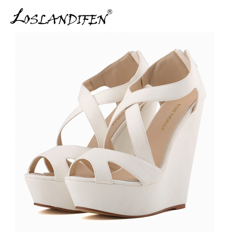LOSLANDIFEN New Women's Gladiator Sandals Suede Platform Wedges High Heels Shoes Woman Sexy Peep Toe Wedding Party Summer Pumps chnhira 2017 suede gladiator sandals platform wedges summer creepers casual buckle shoes woman sexy fashion high heels ch406