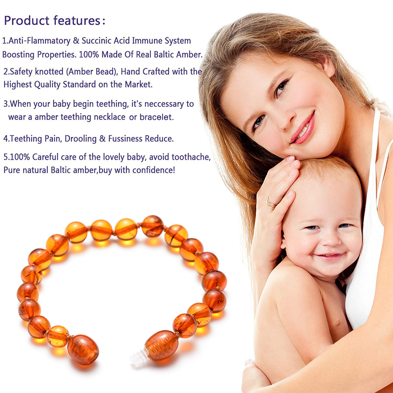Natural Ambers Teething Bracelets for Baby Baltic Ambers Round beads Bracelet Fussiness Reduce Ambers Teething Anklets 5 Color in Strand Bracelets from Jewelry Accessories