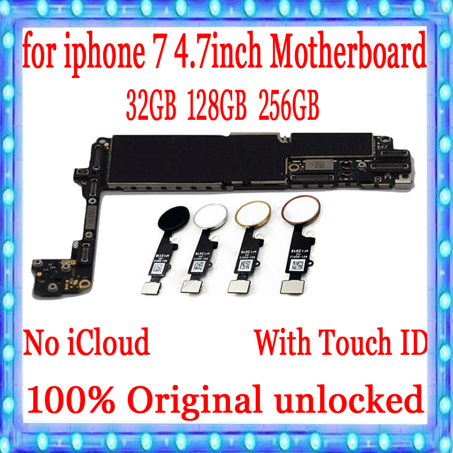 Original Unlocked For iPhone 7 4 7inch Motherboard 32GB 128GB 256G with Free iCloud For iPhone