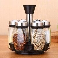 7Pcs/Set Steel Glass Spice Jar Kitchen Seasoning Sprays Jar Bottle Glass Pepper salt Shaker Cruet Condiment
