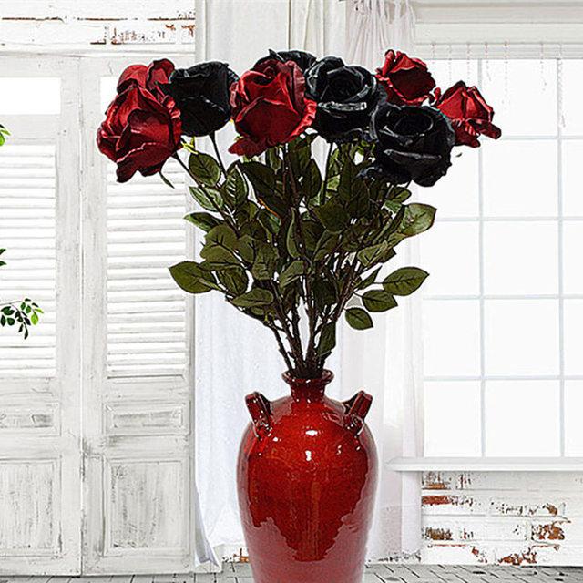 Big Australia Rose Branch Artificial Flowers Black Roses Silk Fake