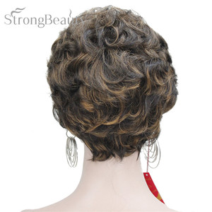 Image 4 - StrongBeauty Short Black Brown Mix Blonde Highlights Wigs Women Synthetic Curly Wigs