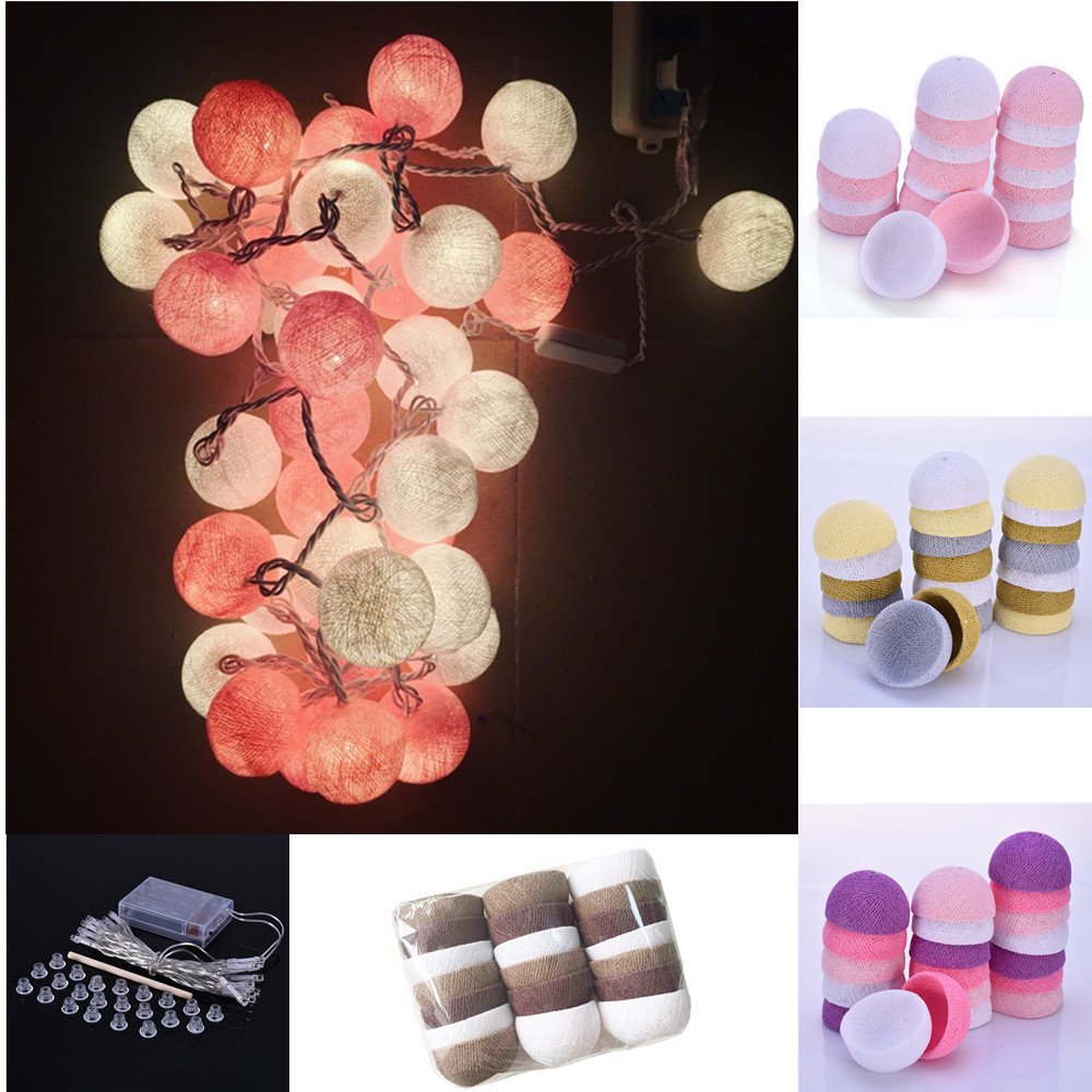 Cotton Ball Decorative String Light Thai Handmade High-quality Thread 20 Balls String Lamp Used For Home Party Decoration high quality home party decorative fake yellow reed artificial flower