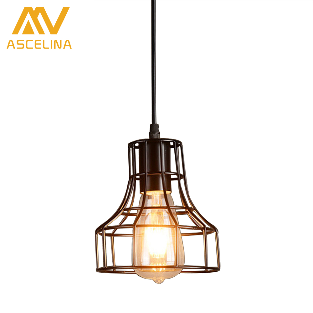 ASCELINA American Loft Industrial Style Pendant Light Retro Creative Luminaire led lamps Restaurant/Bar/Cafe/Home e27 Iron Black ascelina american retro pendant lights industrial creative rustic style hanging lamps pendant lamp bar cafe restaurant iron e27