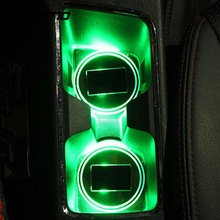 VEHEMO Universal Car Auto Anti-Slip Mat Waterproof Solar LED Light Lamp Cup Holder Mat Pad Bottle Drinks Built-in Vibration
