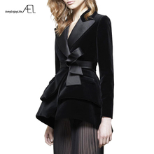 Huan-Qing Hooded Suit Collar Plaid Blazers Autumn Women Double-breasted Long Sleeve