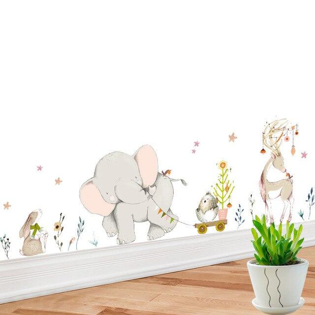 Stickers Voor Op De Muur Kinderkamer.Us 4 5 40 Off Cartoon Olifant Dier Muur Sticker Voor Kinderkamer Home Decoratie Plint Grote Art Wall Sticker Voor Nursery Babykamer Poster In