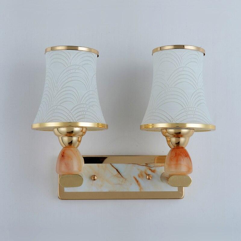 Offre spéciale E27 applique authentique vintage applique murale handmad doré salle de bain lumière lampada européenne mur LED lampe artificielle jade
