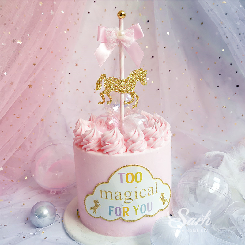 Sensational Bow Carousel Pink Lace Happy Birthday Cake Topper Dessert Personalised Birthday Cards Bromeletsinfo