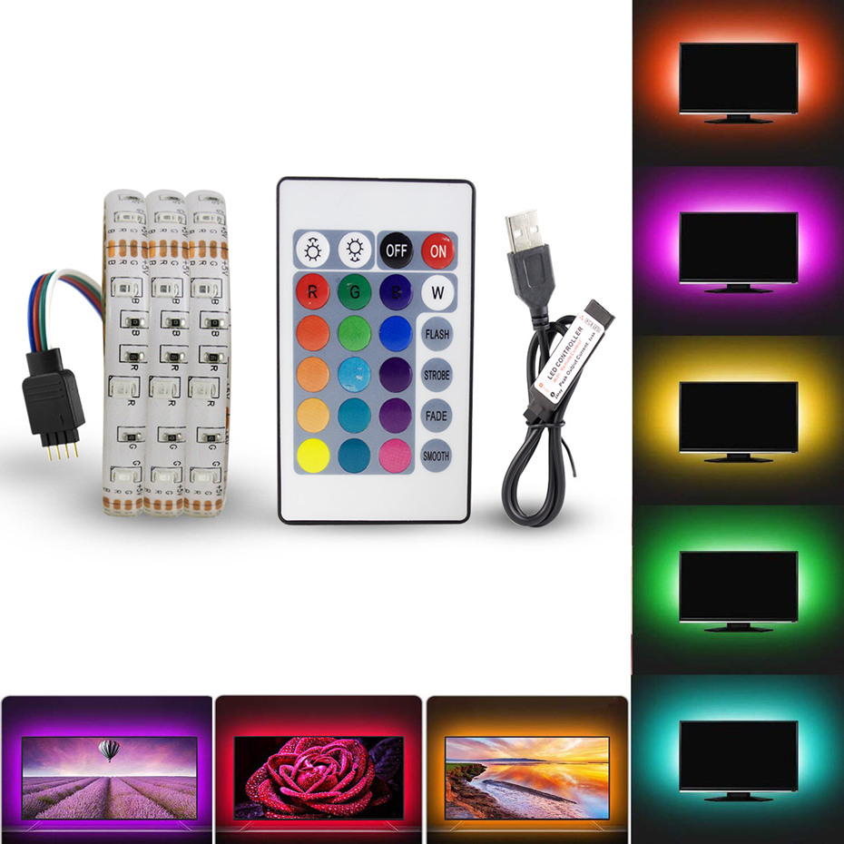 5V 1M 2M 3M 4M 5M USB Cable Power LED Strip Light Lamp RGB/White/Warm White Desk Decor Lamp Tape For TV Background Lighting