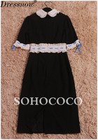 High Quality Summer Dress Women Cute Butterfly Dragonfly Vintage Dress Patchwork Black White Lace Up Embroidery Empire Dress