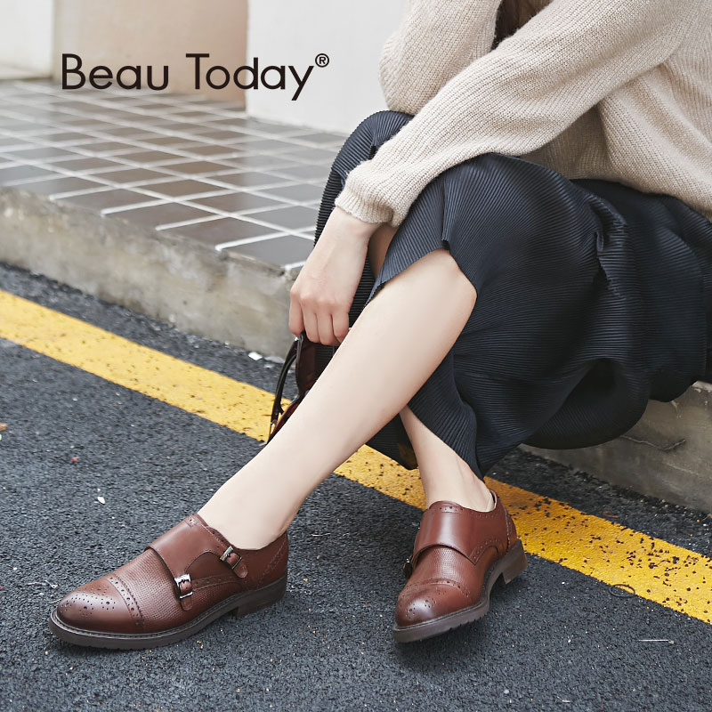 Beau Genuine Leather Monk Straps Fashion Shoes Round Toe Casual Calf Leather Women Flats 21048 tênis masculino lançamento 2019