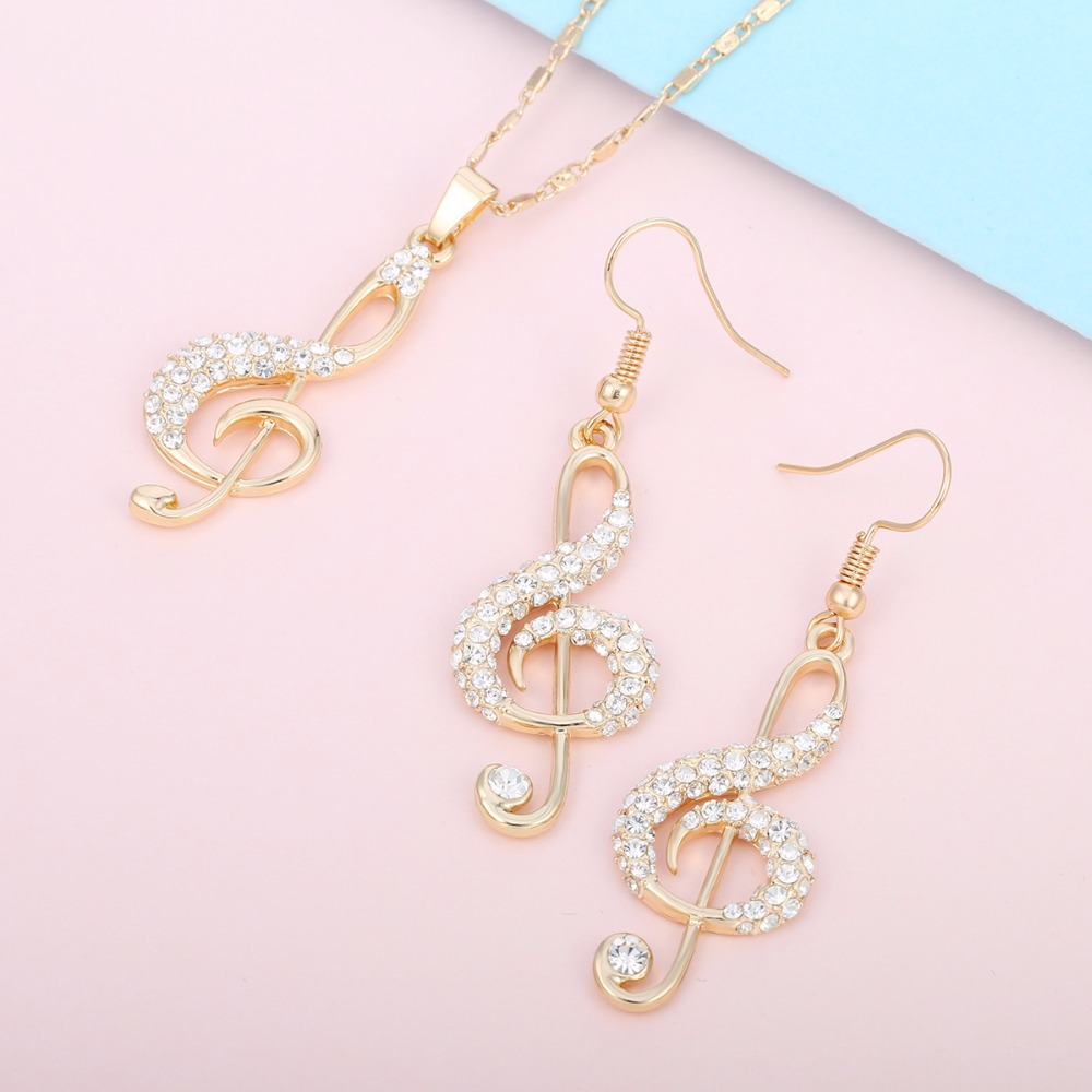 Crystal Music Jewelry Set Pendant Necklace Music and Earrings 6258